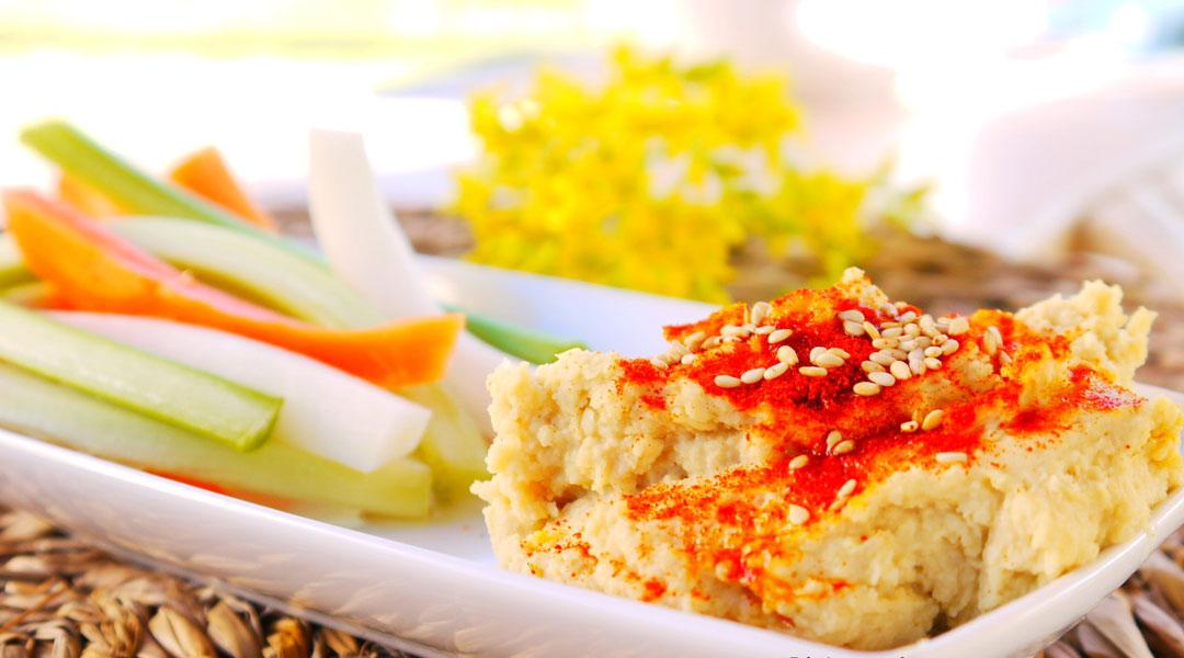 Receta humus de garbanzos con crudités