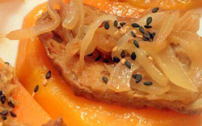 Receta Montaditos de calabaza, seitán y cebolla caramelizada
